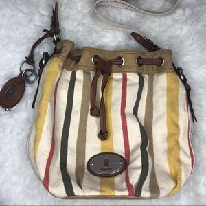 Fossil Drawstring Purse Bag Striped